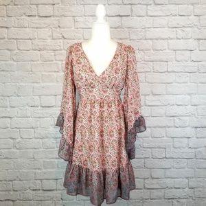 Betsey Johnson red boho wide sleeve short dress